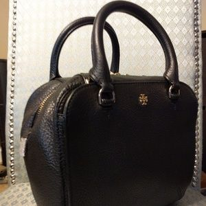 Tory Burch Black Textured Leather Robinson Bowling
